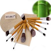 DE'LANCI Pro 11 Pcs Bamboo Handle Synthetic Makeup Brushes Face Powder Concealer Contour Brush Set Foundation Blending Contourking Brush Kit Make Up Brush Tools with Golden Bag Pouch