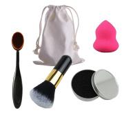DE'LANCI 4 In 1 Travel Makeup Set- Oval Makeup Brush + Big Powder Blush Cosmetic Brush + Beauty Sponge Puff + Brushes Colour Remove Sponge Cleaner Box with Beige Makeup Tools Bag