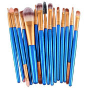 Fullkang 15pcs Make-up Toiletry Tools Wood Hand Kit Wool Make Up Brush Set