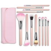 Docolor 12Pcs Makeup Brushes Set Foundation Concealer Kits with Cases-Pink