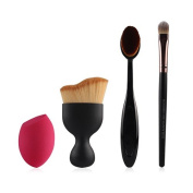 4 PCS Foundation Brushes Set with Eyeshadow Brush, Oval Toothbrush, Shadow Contour Brush, Blender Sponge Puff, G2PLUS Makeup Brushes Kit for Powder Cream Blush