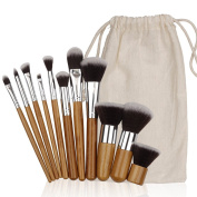 Kosee Beauty Bamboo Makeup Brushes Kit 10pcs Professional Make Up Set with Travel Pouch