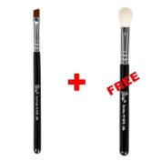 Bundle - Petal Beauty Travel size Small Angle makeup Brush + FREE $9 Value Eye Blending Brush
