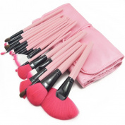 ZENITH FASHION New Professional 24pcs Pink Makeup Brush Set Make-up Toiletry Kit Wool Brand Make Up Brush Set + Leather Case