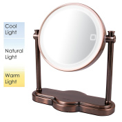 Ovente MHT80AB Dual Sided Multi Touch Tabletop Vanity Mirror, Antique Brass, 20cm , 1.6kg