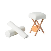HomCom 60cm Portable Massage Therapist Stool and Bolster Pillow Set - Cream