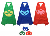 PJ Masks Costumes For Kids Set of 3 Catboy Owlette Gekko Mask with Cape