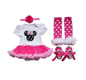 Sallyshiny Infant Newborn Baby Girl Romper Dress Outfit Bodysuit Tutu Skirt Cartoon Clothes 4pcs/set Headband Shoes Leg Warmer