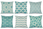 Top Finel Cotton Linen Throws Pillows Covers Cushions for Sofa Set of 6, 46cm x 46cm , Teal