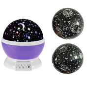 Eizur Night Light LED Projection Lamp 360°Rotating Round 3 Modes Relaxing Romantic Lighting Cosmos Projector USB/Battery Powered for Kids Bedroom,Baby,Decoration,Christmas Gifts--Purple with 3 lids