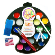 Face Painting kit for kids Ellie Arts 16 colour Palette for the Professional or Beginner All the Supplies You Need 3 Brushes 2 Sponges & 4 Applicators. Paints 160 smiling faces. Perfect for Halloween