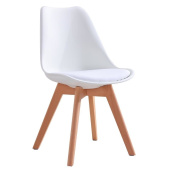 CrazyGadget® Tulip Dining Chair Natural Solid Wood Legs with Cushioned Pad Contemporary Designer for Office Lounge Dining Kitchen