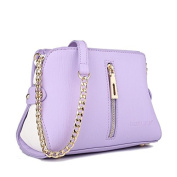 Miss Lulu Leather Look Zip Front Chain Shoulder Cross Body Bag