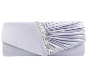 Clorislove Women's Diamante-Studded Pleated Satin Bridal Evening Clutch Bag