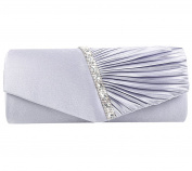 Clorislove Women's Diamante-Studded Pleated Satin Bridal Evening Clutch Bag