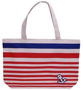 Striped Carrier / Shopping / Shoulder Beach Bag - Pink, Black or Blue