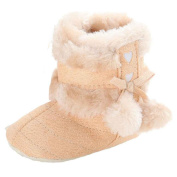 Rosennie Furry Baby Soft Fur Ball Sole Snow Boots Soft Shoes Toddler Boots (1.5