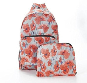 Folding Backpack Travel Bag Poppy Print