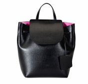 REBELLE FTC Backpack Angelica Black / Fuchsia genuine leather made in Italy