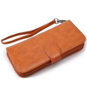 SZTARA Women Long Purse Leather Large Capacity Wallet Card Holder Case Clutch Phone Handbag With Zipper Pocket Coffee