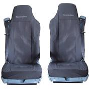 2 x Car Seat Covers - Black Mercedes Atego Actros 2005-2008 Mercedes-Benz 1844 LS Heavy Duty Axor