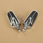 Tengchang Chrome 10mm Foot Pegs Footrest For Harley Touring Softail Dyna FLT FLH Universal
