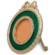7.6cm Faberge Green Enamelled Guilloche Round Russian Antique Style Picture Frame