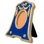 11cm Faberge Rectangle with Oval Opening Blue Enamelled Guilloche Russian Antique Style Picture Frame