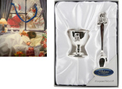 Silver Plated Teddy Egg Cup & Spoon Baby's 1st Christmas Gift BOY