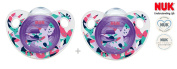 """NUK """"TRENDLINE"""" Nr.10.543.238 - 2x Pacifiers Soothers Dummnies Anatomical Silicon/ PURPLE"""