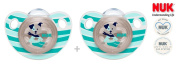 """NUK """"TRENDLINE"""" Nr.10.543.238 - 2x Pacifiers Soothers Dummnies Anatomical Silicon/ BLUE GREY"""