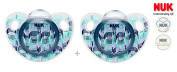 """NUK """"ADORE"""" Nr.10.735.271 - 2x Pacifiers Soothers Dummnies Anatomical Silicon/ BLUE"""
