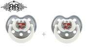 "ROCK STAR BABY ""HEART"" Nr.90313 - 2x Soothers Pacifiers Dummies Anatomic Silicone/ SILVER + WHITE"
