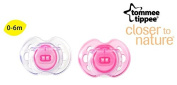 """TOMMEE TIPPEE """"AIR STYLE"""" Nr.43335964 - 2x Soothers Pacifiers Dummies Orthodontic Silicone/ PINK + TRANSPARENT"""