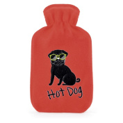 Kids Hot Dog Embroidered Soft Fleece Covered Natural Rubber Hot Water Bottle
