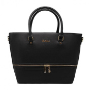 Tom & Eva Front Zip Women Vegan leather handbag in black