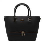 Tom & Eva Front Zip Women Vegan leather handbag in black