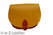 Bright Yellow and Orange Two colour / Dual / Contrast / Real Leather Saddle Cross Body Handbag with Buckle Closure and Adjustable Strap. Available in many combinations