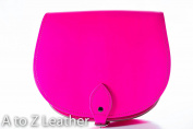 Neon Pink Real Leather Saddle Cross Body Handbag with Buckle Closure and Adjustable Strap