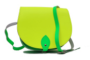 Two colour / Dual / Contrast / Real Leather Saddle Cross Body Handbag with Buckle Closure and Adjustable Strap. Available in many combinations