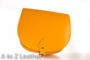 Sunset Yellow Real Leather Saddle Cross Body Handbag with Buckle Closure and Adjustable Strap