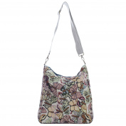 Reversible Messenger Cross Body Canvas Shoulder Bag Floral Owl Stripe Print