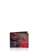 Real Leather Gone Fishing Printed Trifold Mens Wallet