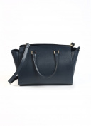 Navy Blue Luxury Real Leather Grab Handbag ladies fashion