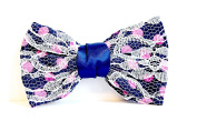 Large Hair Barrette with UD Fabric Lace N & # X153 - Midnight Blue