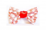 Large Hair Barrette with N & # X153; UD Lace - Coral Fabric
