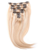 Fabwigs Clip In Hair Extensions 100 Grammes - 15 18 20 60cm 8pieces 17 Clips - Silky Straight Human Remy Hair