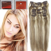 36cm Full Head Colour 8/613 Chestnut Brown Mixed with Light Blonde Clip in Human Hair Extensions. High quality Remy Hair 100g Weight