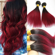100Gram Straight 100% Real Human Hair Burgundy Ombre Hair Extensions Colour #1B Natural Black to Wine Red Bundles Hair Weft