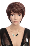 Prettyland C111 - Short Hair Wig dark brown with fine highlights smooth hair Cosplay